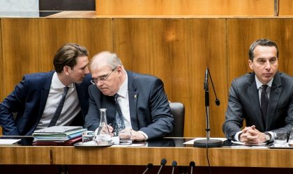Austrian Chancellor and head of the Social Democratic Party (SPOe) Christian Kern (R) and Austrian Justice Minister Wolfgang Brandstetter (C) and Austrian Minister of Foreign Affairs and new leader of the Austrian Peoples Party (OeVP) Sebastian Kurz (L)